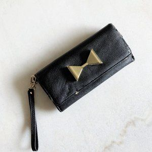 3/$36 - Long black wallet / wristlet with gold bow